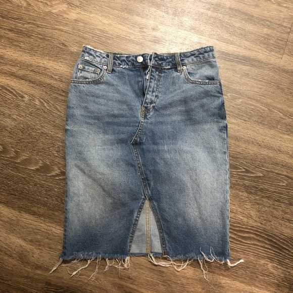 Dresses & Skirts - Frayed Distressed Blue Denim Jean Skirt